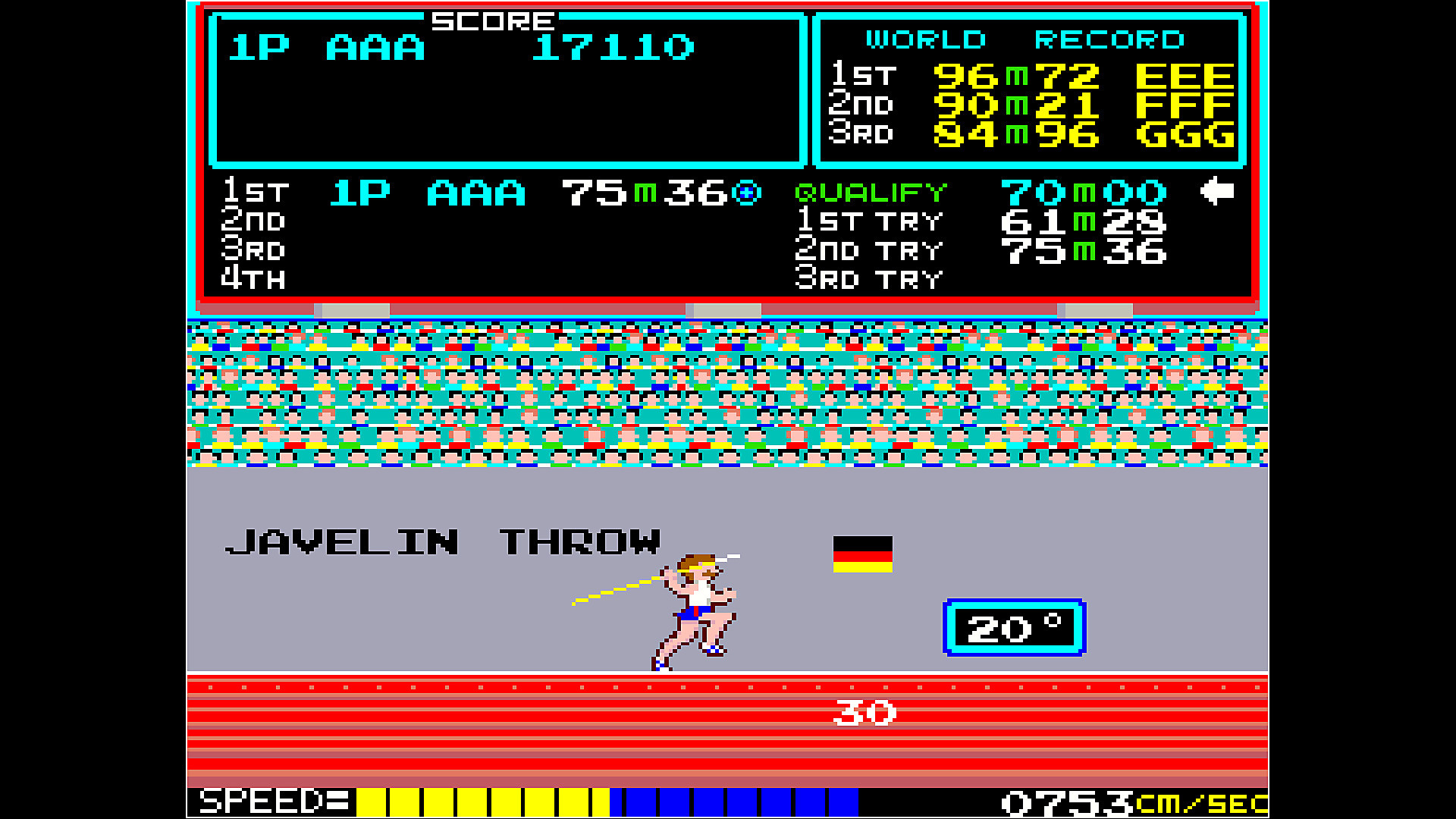 Arcade Archives TRACK & FIELD en acción