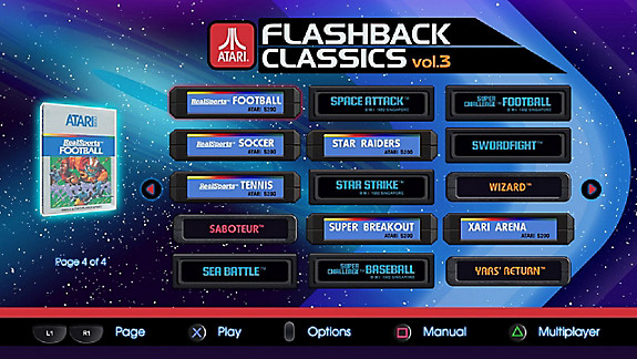 Atari Flashback Classics Vol. 3 - Screenshot INDEX