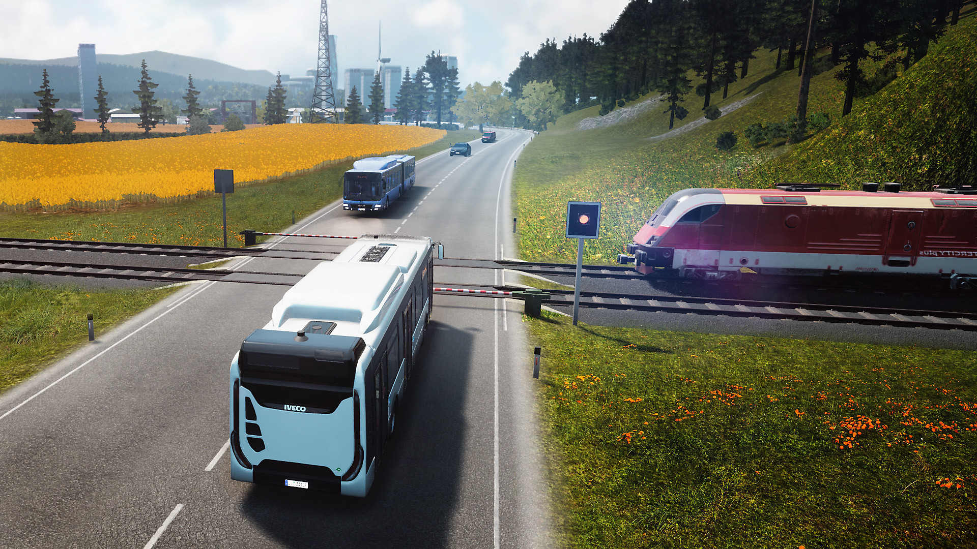 Bus Simulator: Buses stopped at a railroad