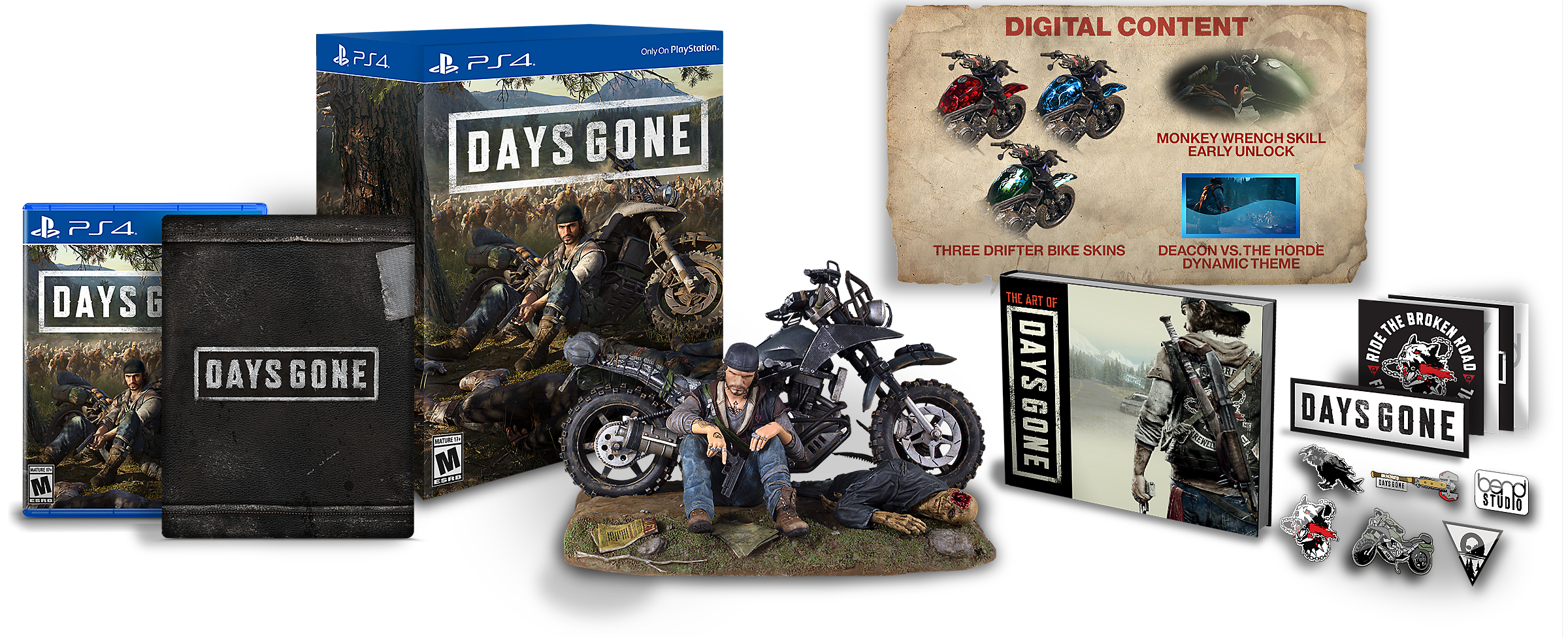 Days Gone Collector's Edition Boxes and Statue