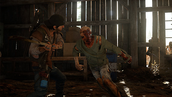 Days Gone - Deacon in a building taking on freakers