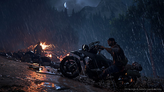 Days Gone - Deacon riding his bike through the rain