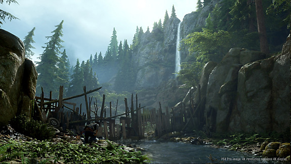 Days Gone setting screenshot with waterfall in the distance