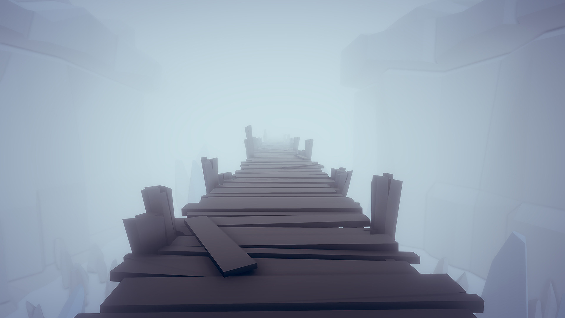 A wooden walkway through the fog