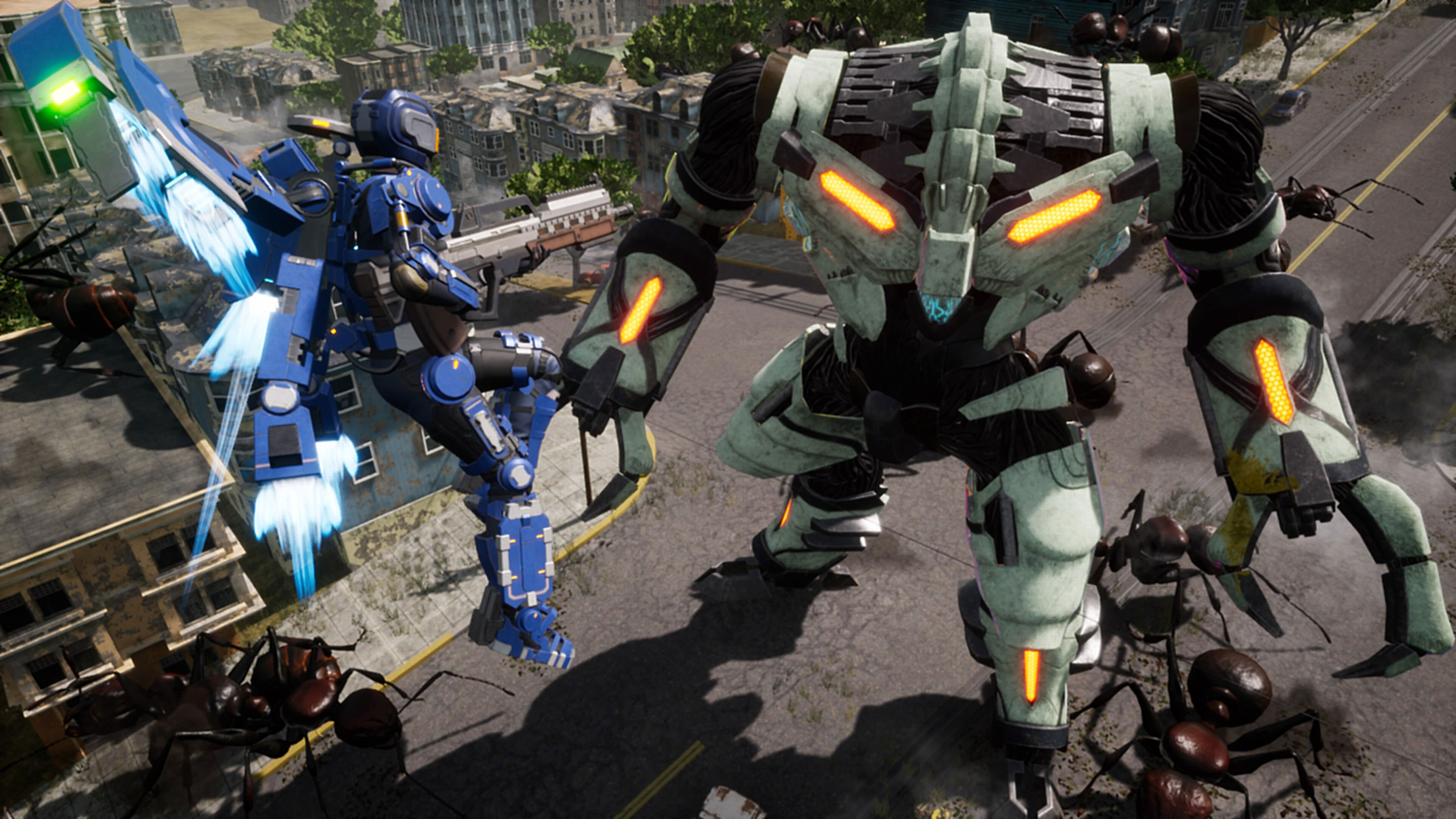 Player flying with high tech suit fighting a giant robot