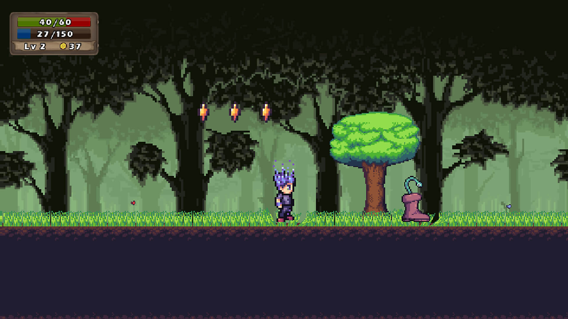 Platforming in a forest level