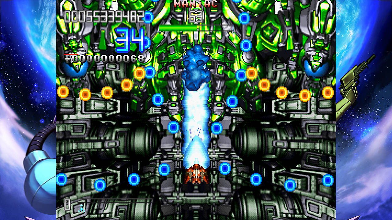 Gameplay screen; player ship is firing a bright, blue beam while dodging incoming attacks