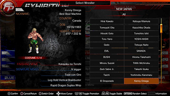 Fire Pro Wrestling World - Screenshot INDEX