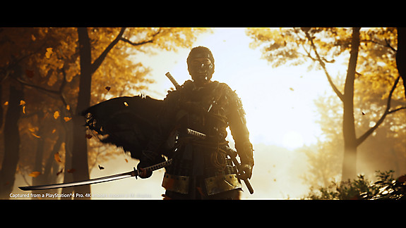 Jin stands with his sword, in front of a sunset.