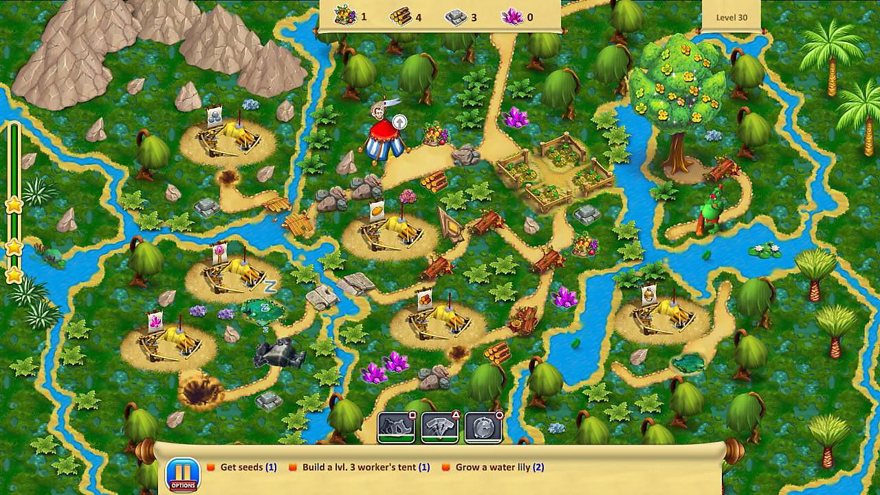 Gameplay screen in tropical setting