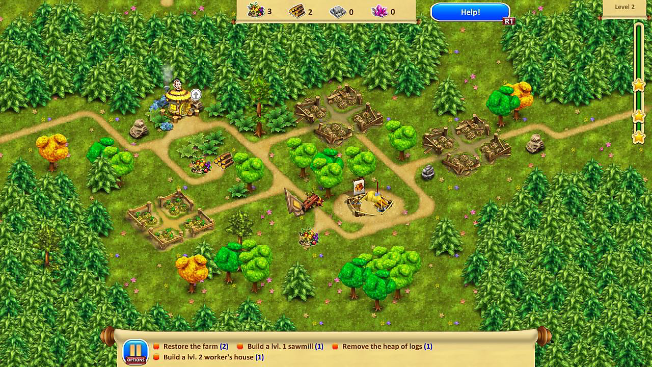 Shows game screen; options to build farms, sawmills, etc.