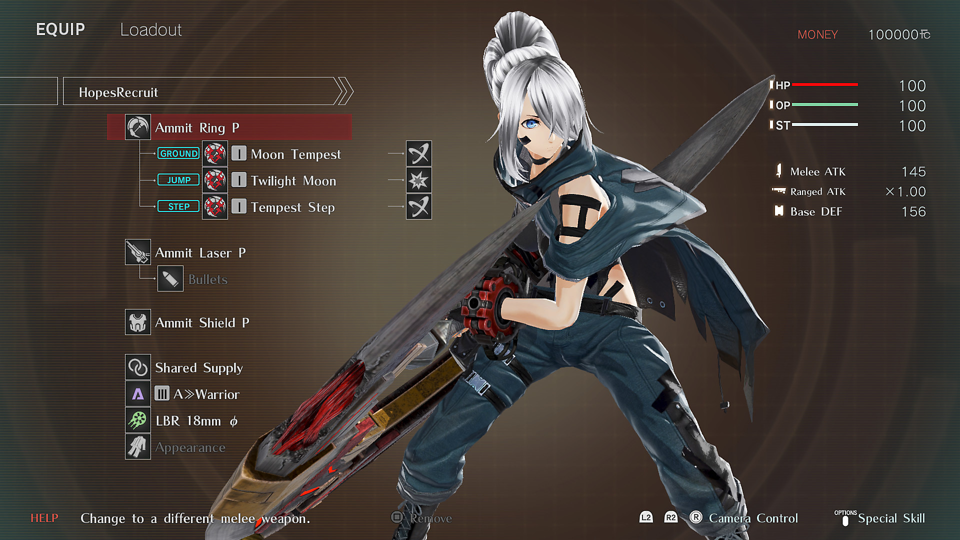 GOD EATER 3 Character Loadout Screen