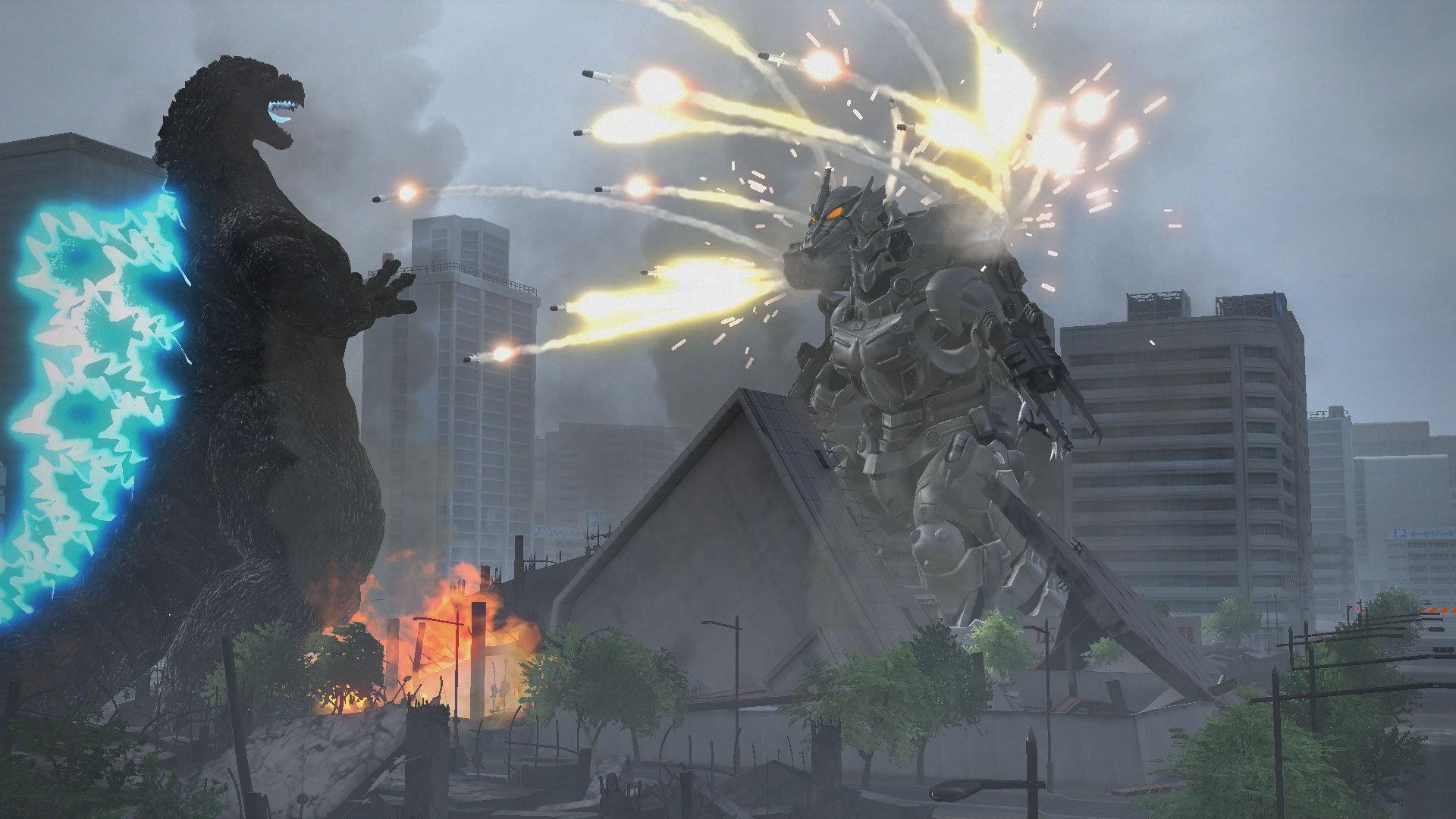 Godzilla and Mechagodzilla fighting.