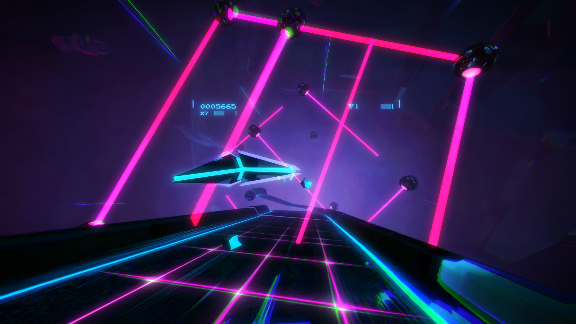Gameplay screen, track with lasers and ships