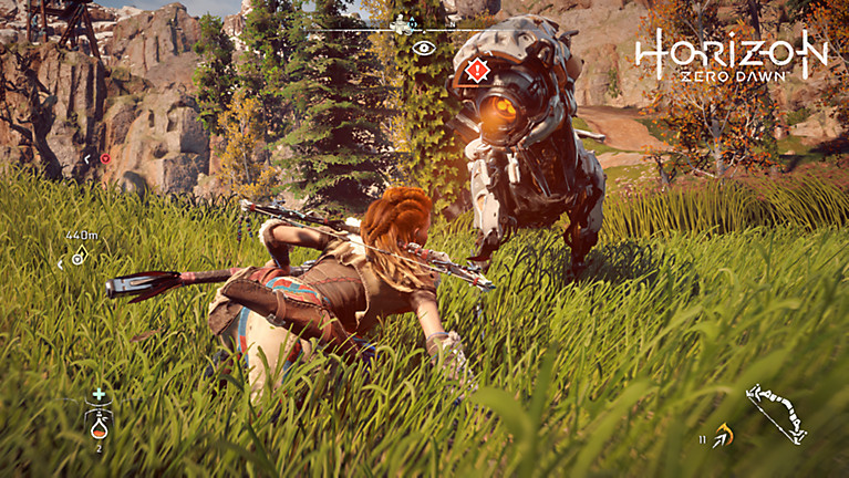 Aloy employs a stealth takedown