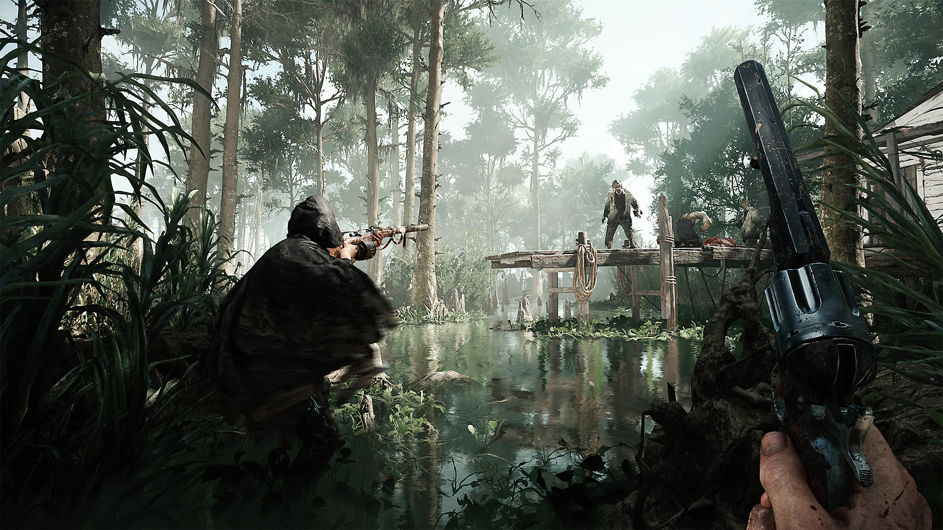 Hunt: Showdown: gameplay, pantano, personaje apuntando al enemigo