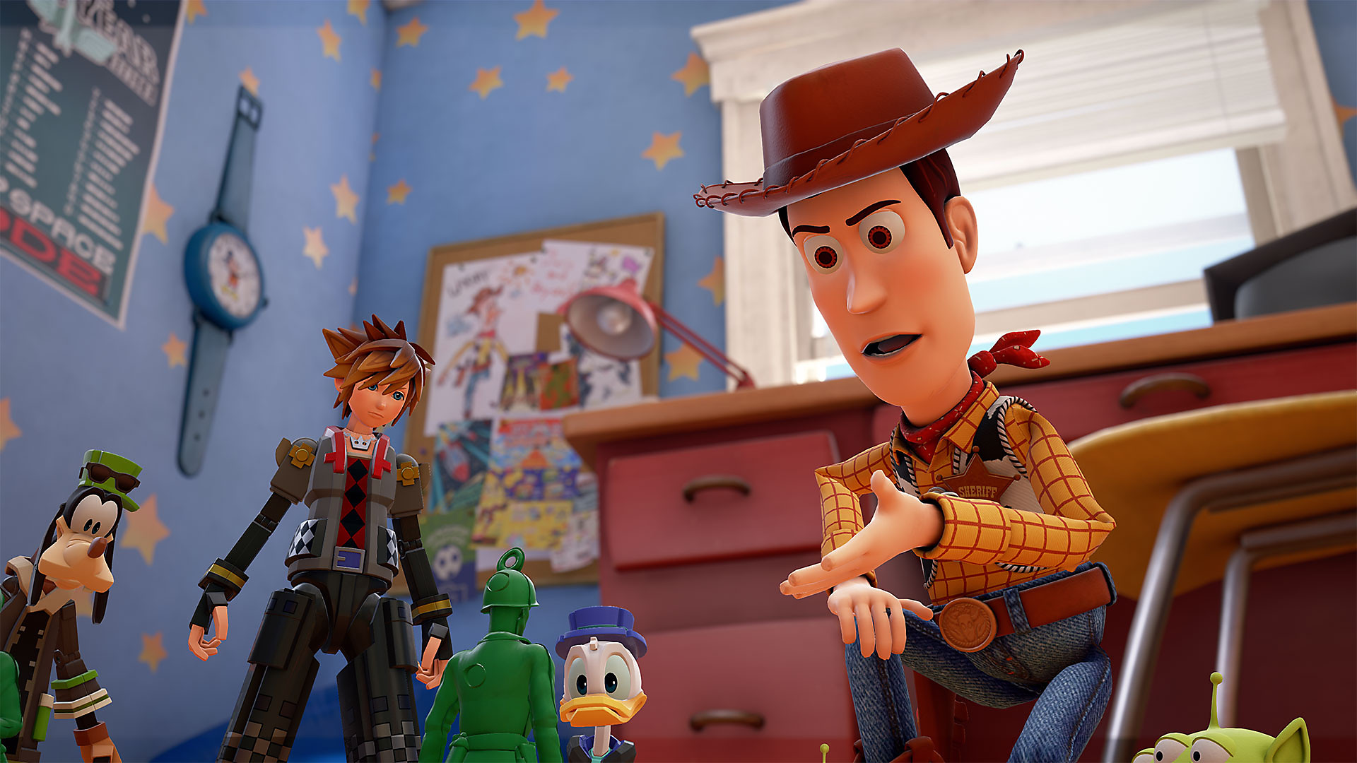 Sora and crew with Woody from Toy Story
