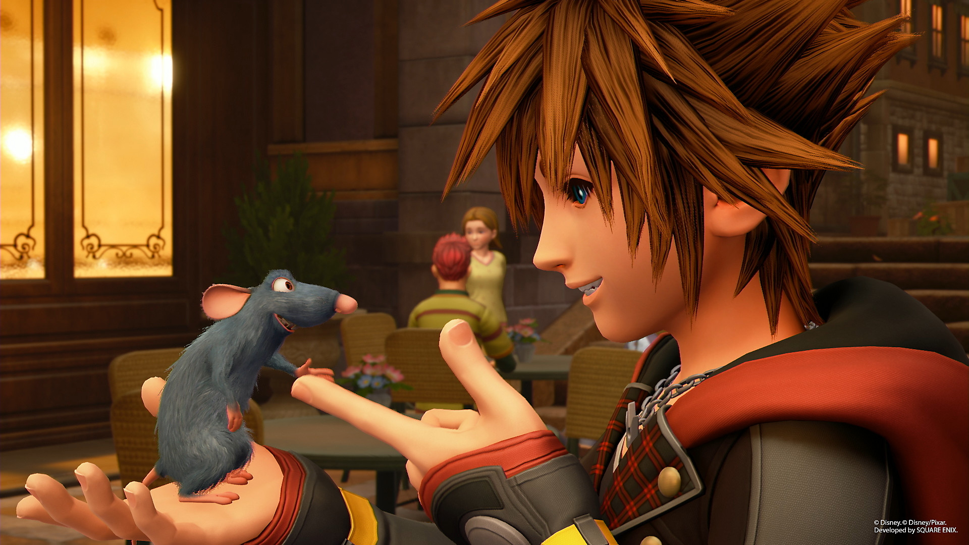 Kingdom Hearts III Screenshot - Sora meeting a new little friend