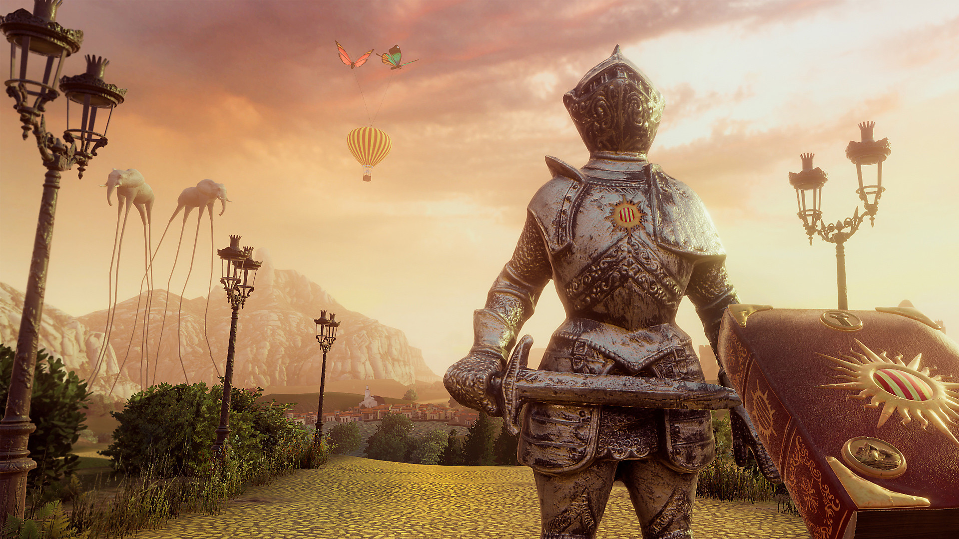 A knight statue, with a hot air balloon held by butterflies in the background, as well as elephants with legs as long as mountains