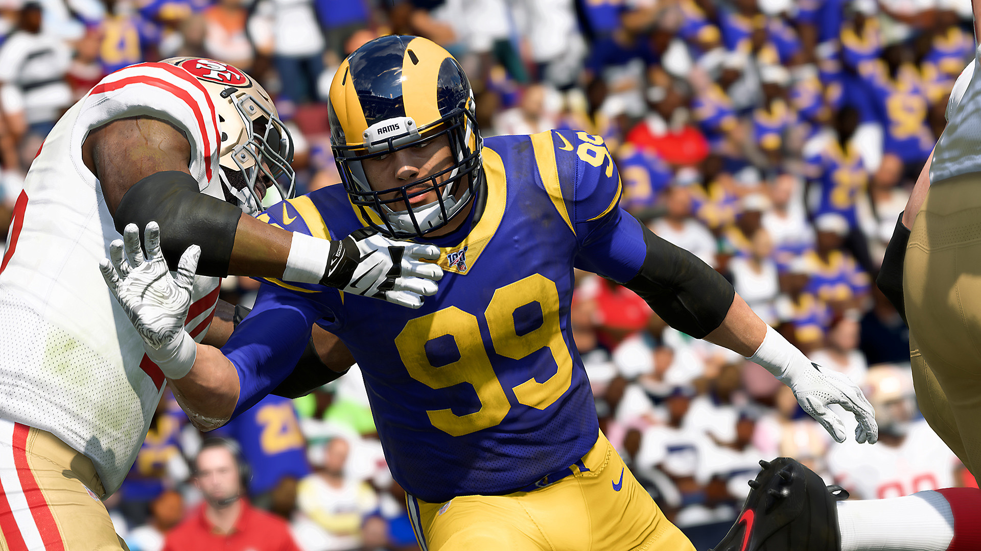 Madden NFL 20 screenshot - Aaron Donald running in