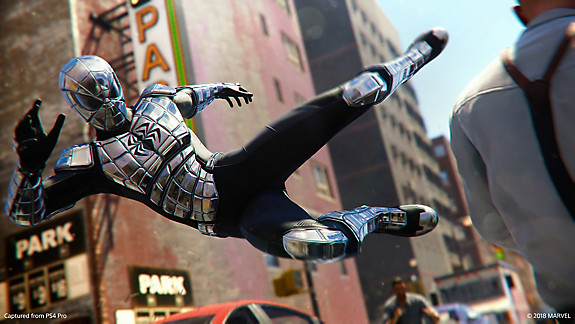 Spider-Man mid-kick