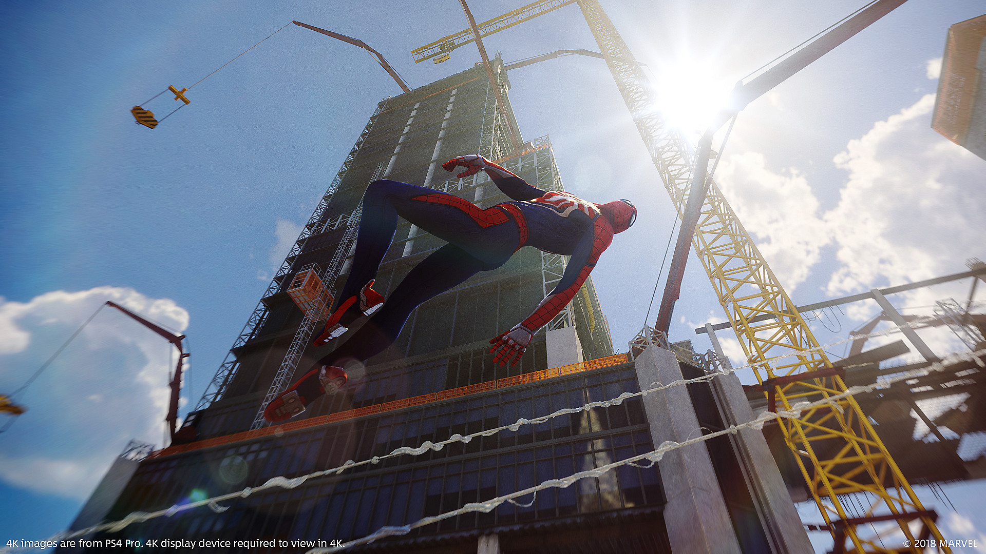 Marvel's Spider-Man swinging through New York City background video