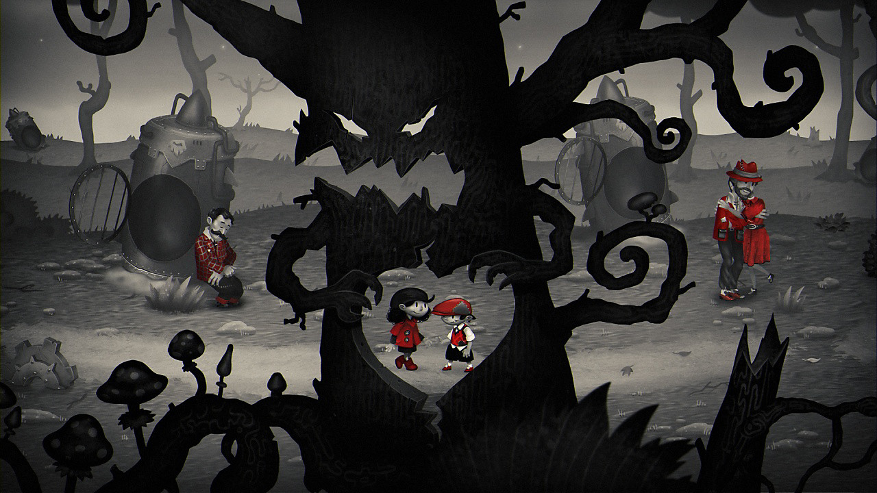 The two main characters appear through a heart-shaped hole in a scary tree