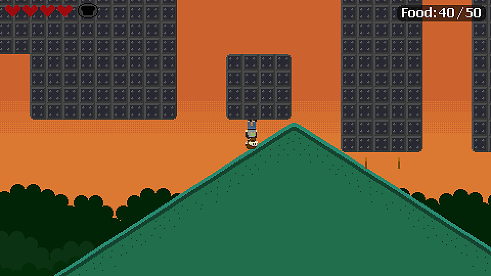 Main character standing upside on a platform