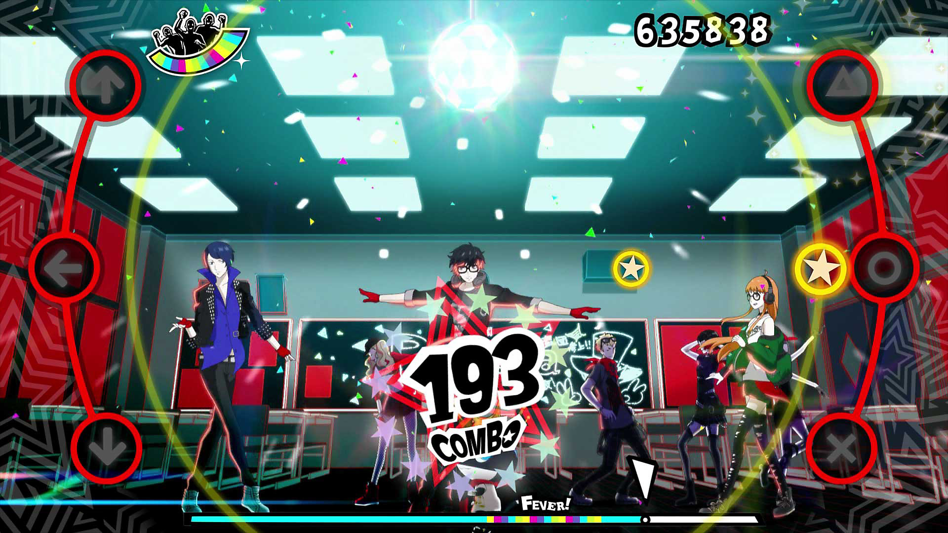 Phantom Thieves dancing together in a classroom
