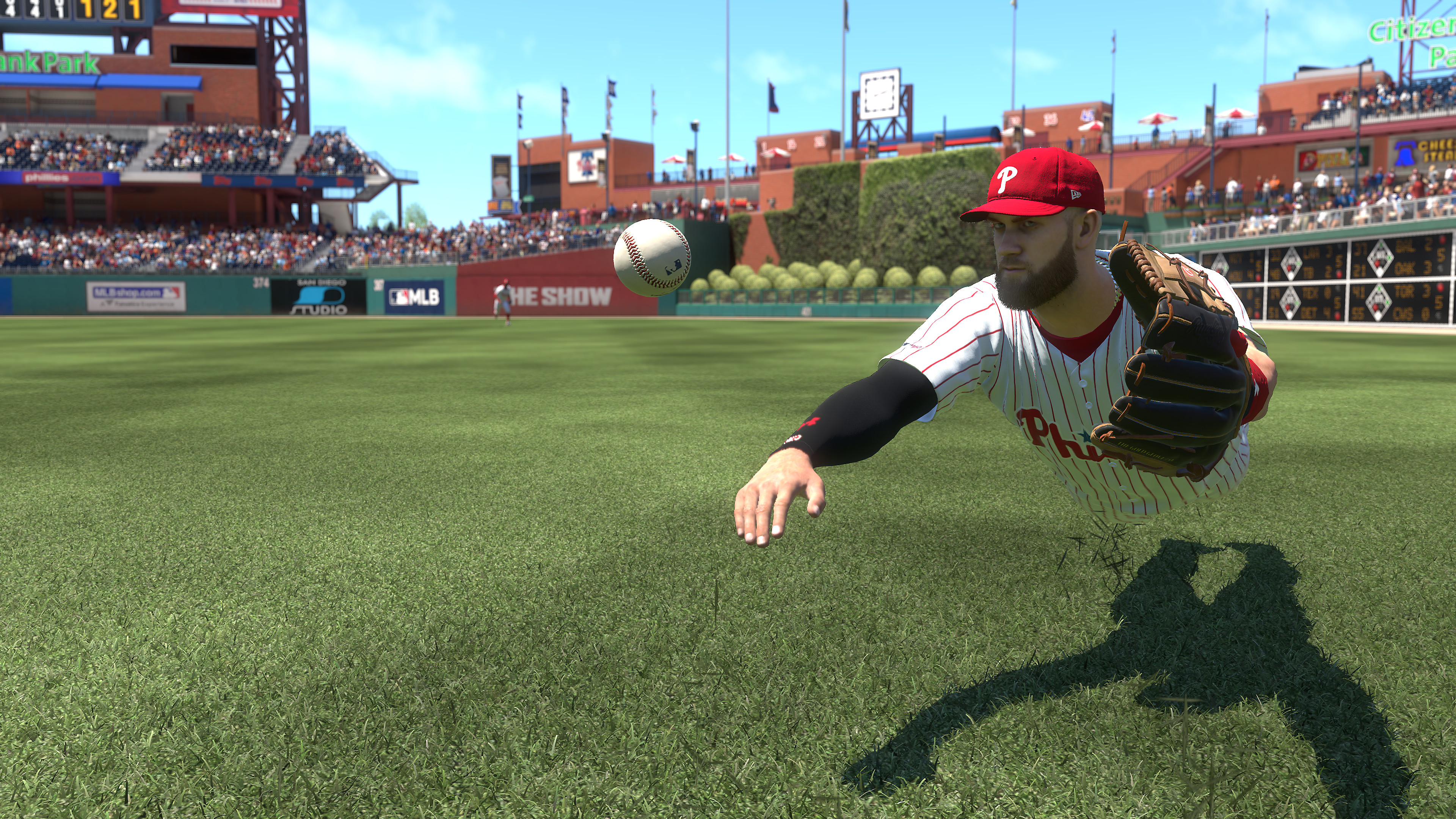 MLB The Show 19 Screenshot - Player diving to catch the ball