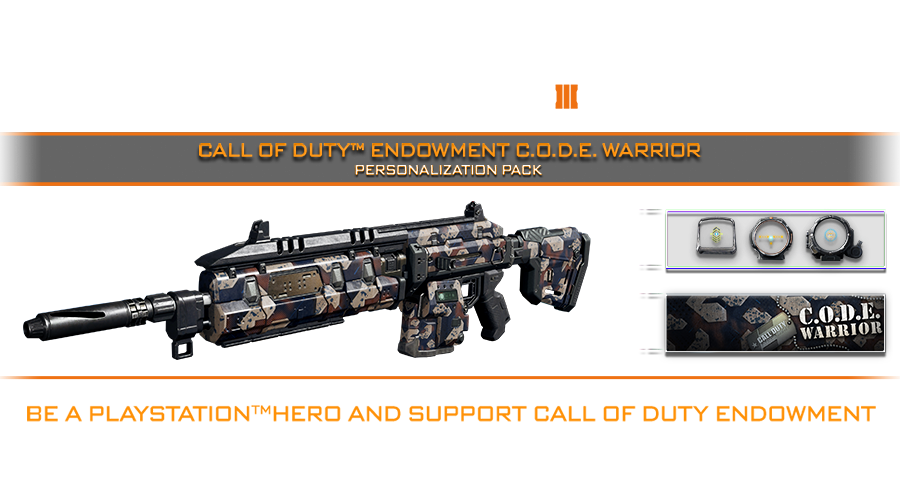 Be a PlayStation Hero and support Call of Duty Endowment by purchasing the Call of Duty Endowment C.O.D.E. Warrior Personalization pack.  100% of your CODE warriors pack purchase goes to helping veterans.