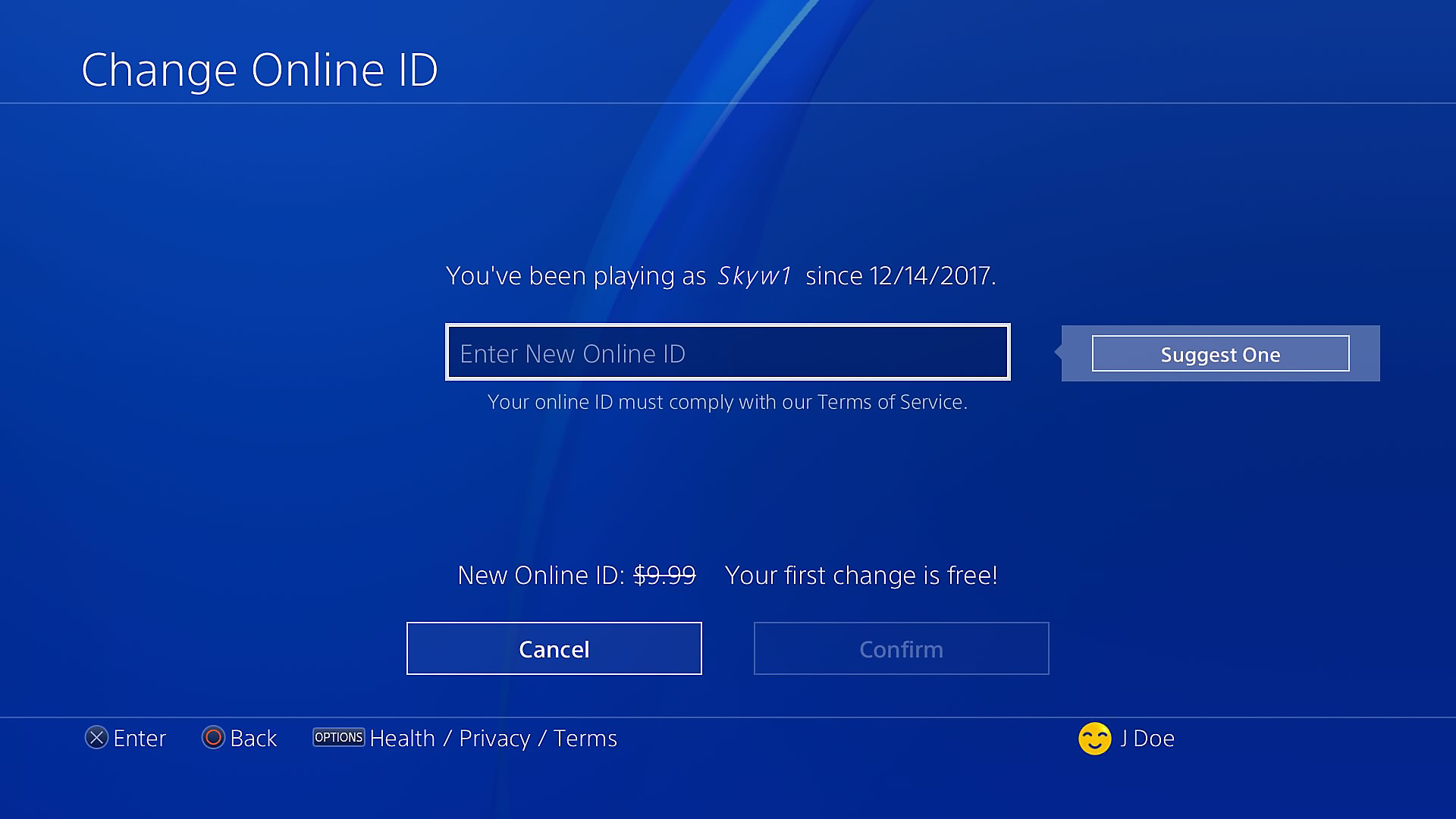 Change ID - PlayStation