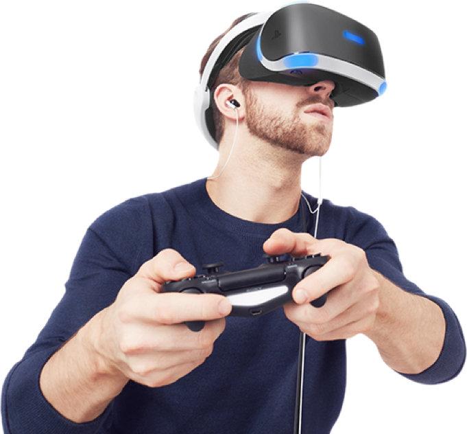 Man playing PlayStationVR