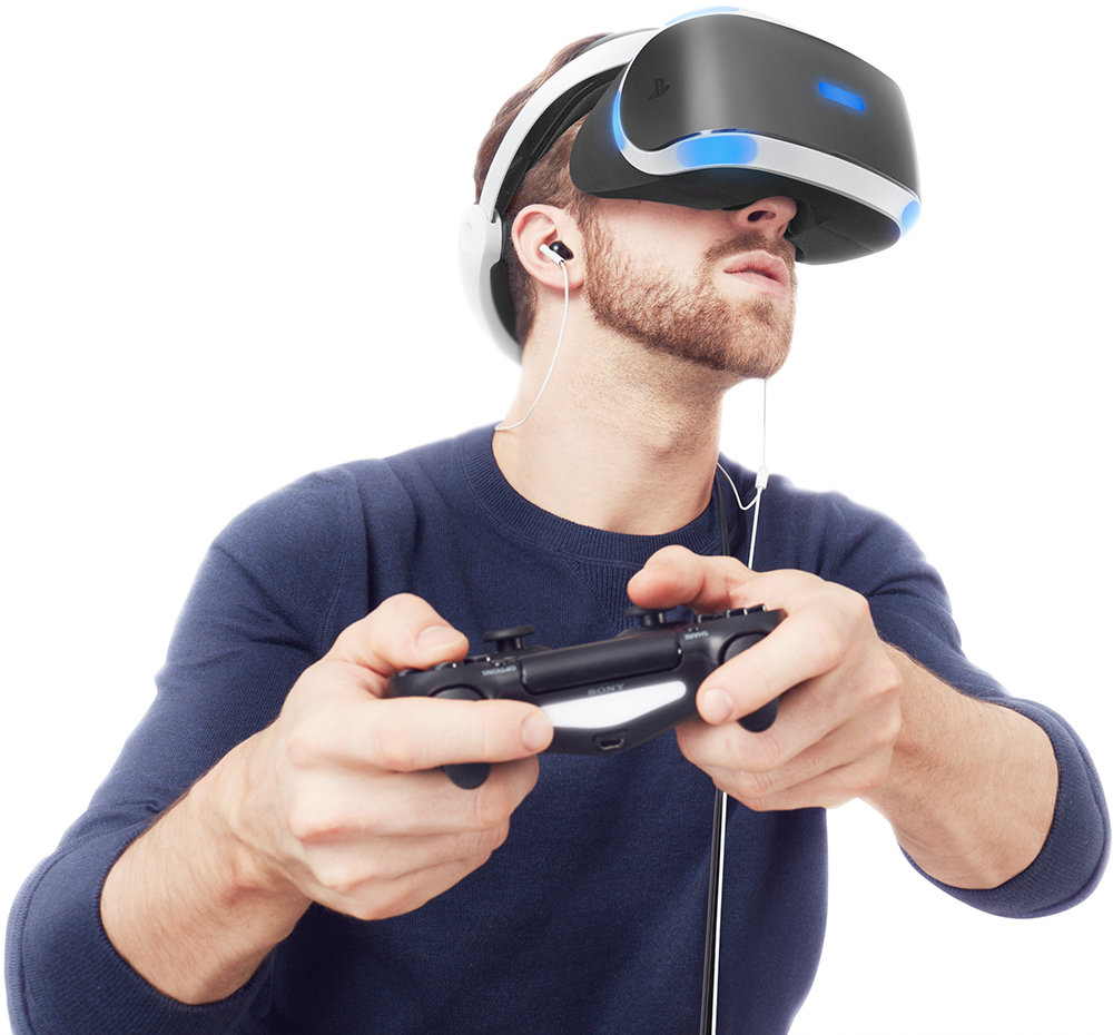 Man playing PlayStationVR