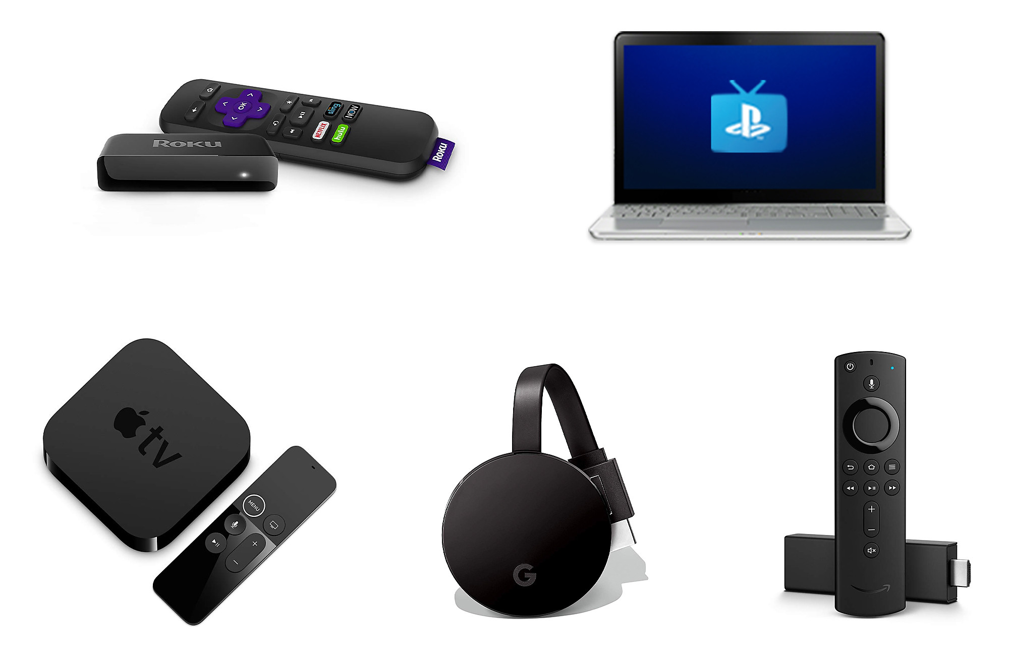 Roku, Amazon Fire TV, Apple TV Live Streaming Devices Image