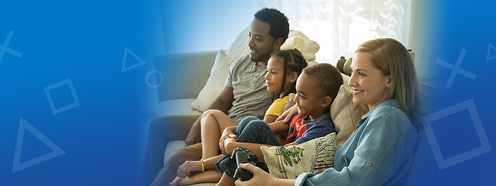 Family enjoying PlayStation