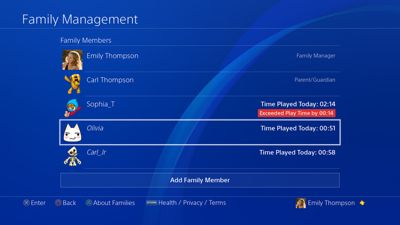 Family Management screen - PS4