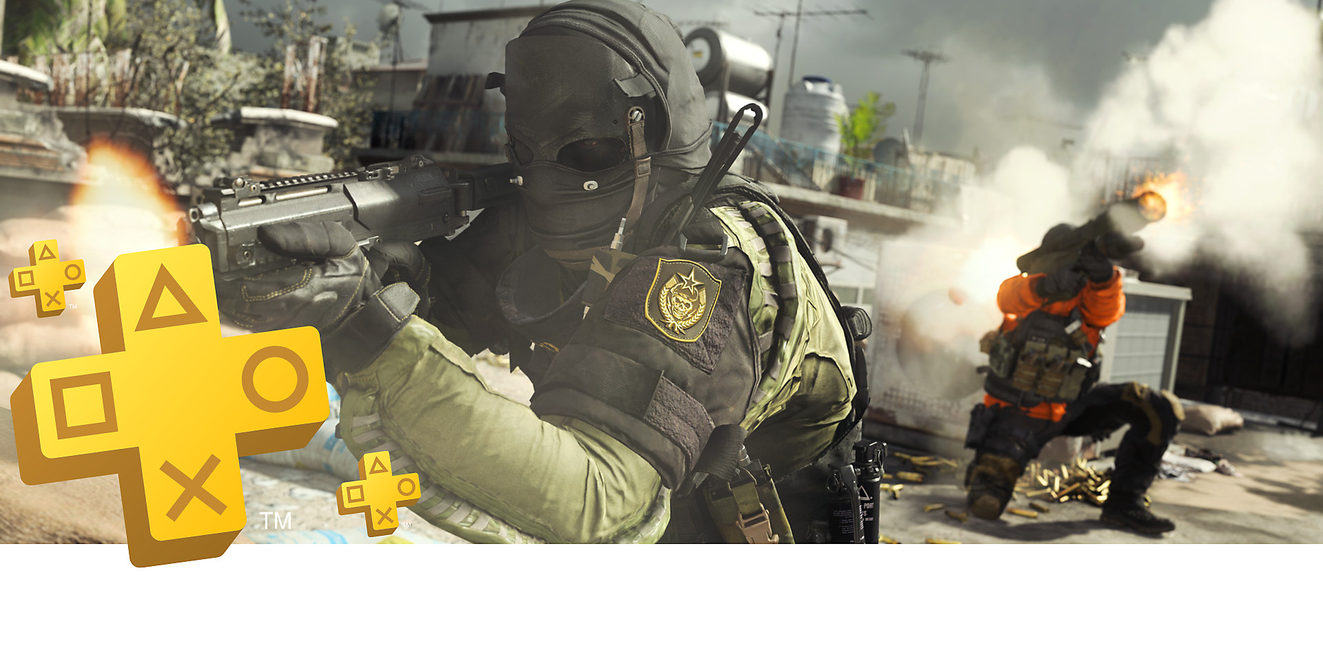 PlayStation Plus banner art featuring Call of Duty: Modern Warfare