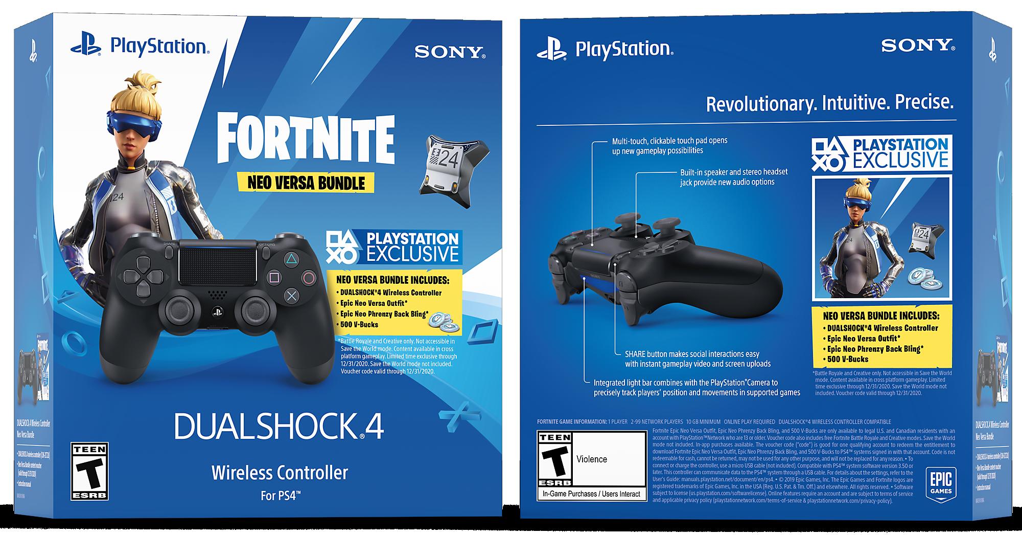 Fortnite Neo Versa DUALSHOCK®4 Wireless Controller Bundle