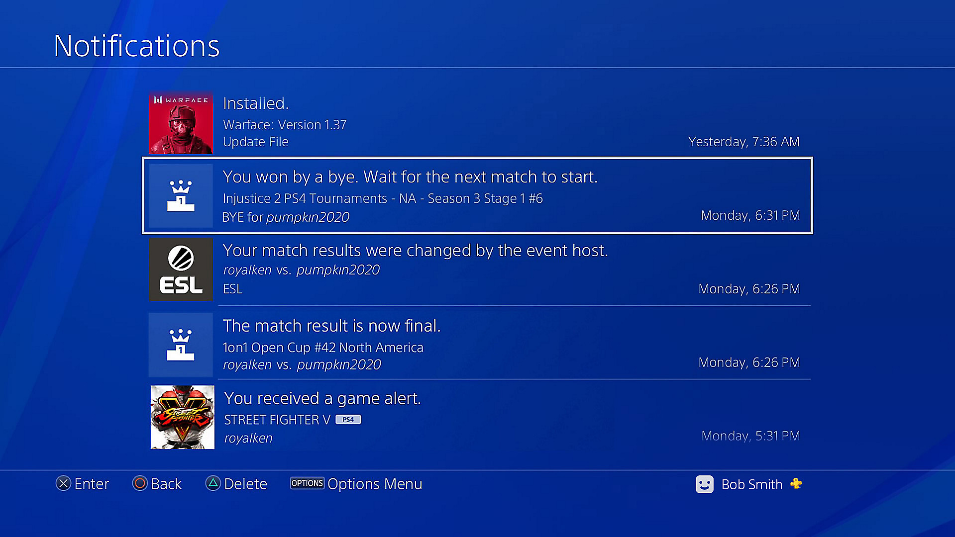 You will receive a notification of a new match on your PS4