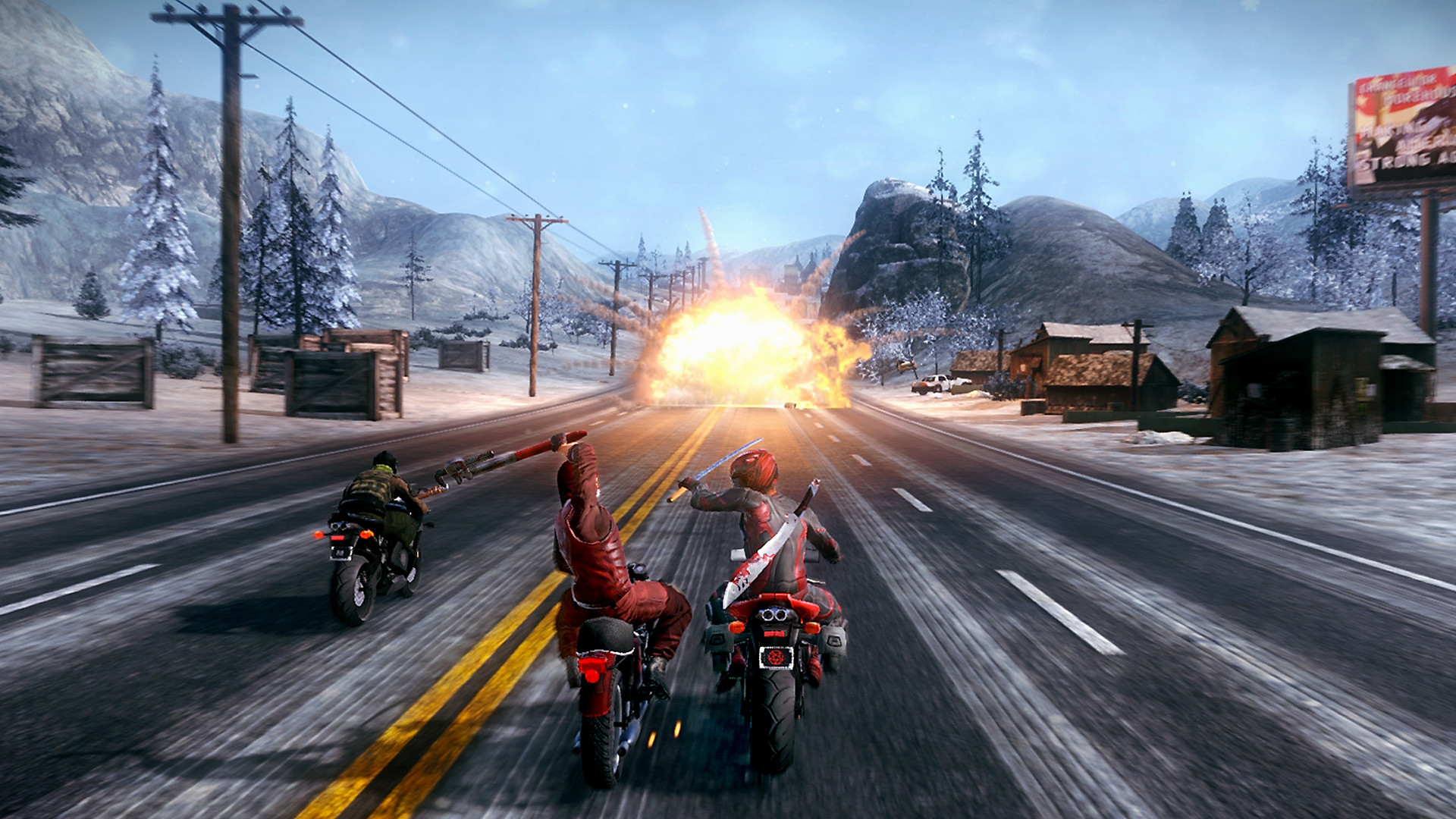 Gameplay screen, two motorcyclists fighting on bikes