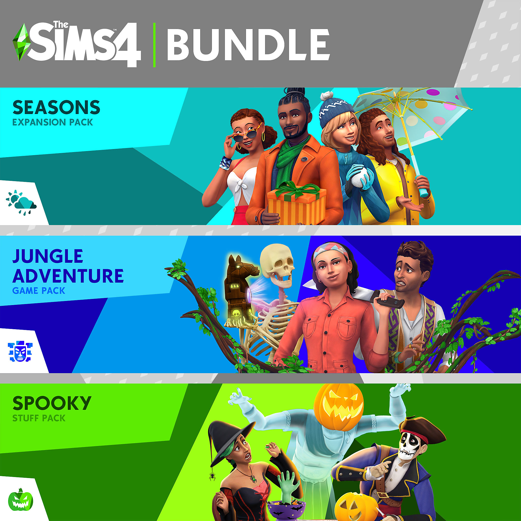 Sims 4 - Seasons, Jungle Adventure, Spooky Stuff Bundle