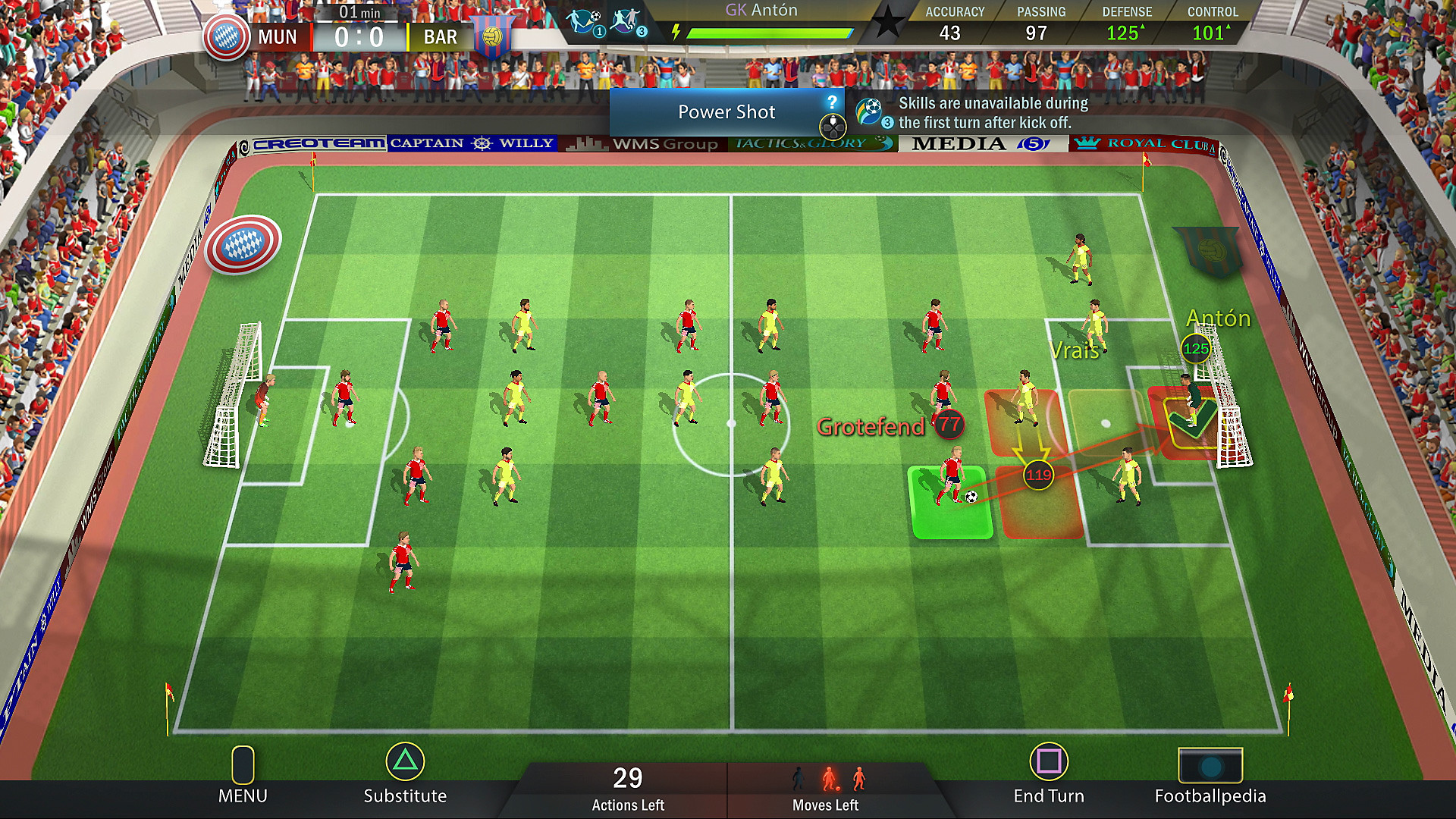 Gameplay de Soccer, Tactics & Glory