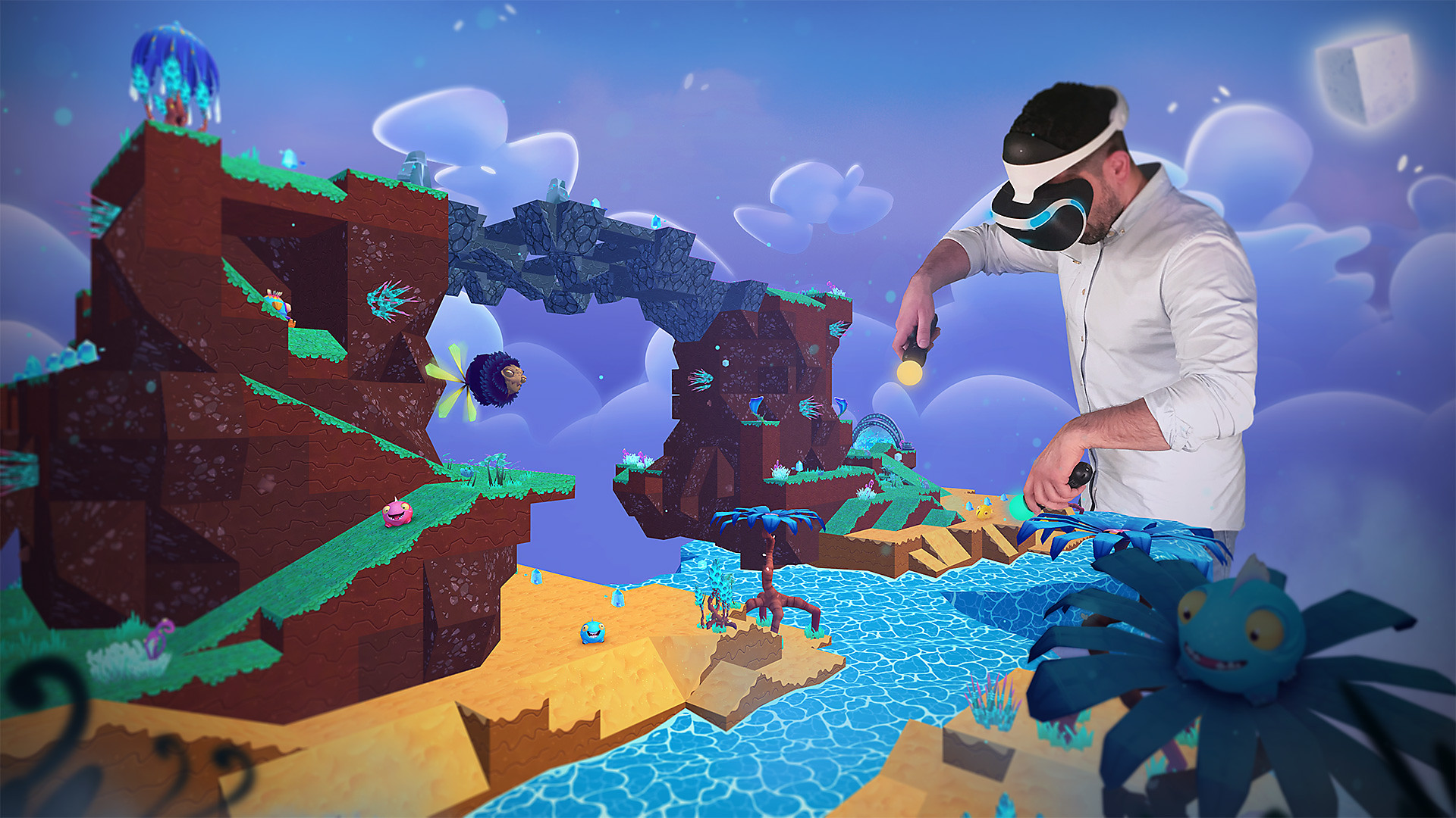 Island with player using VR headset and Move controllers