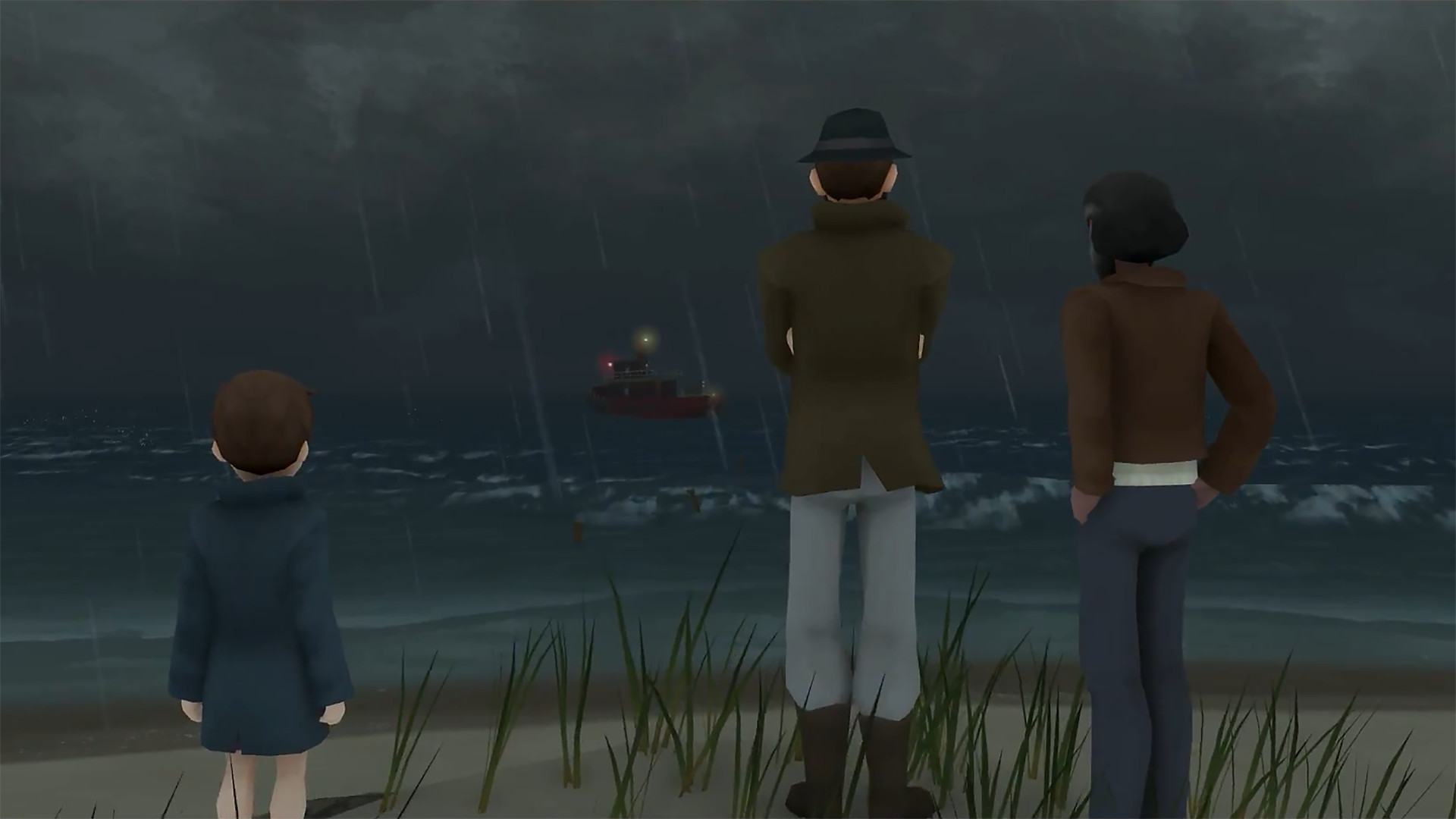 Storm Boy and two other characters look out onto a dark sea