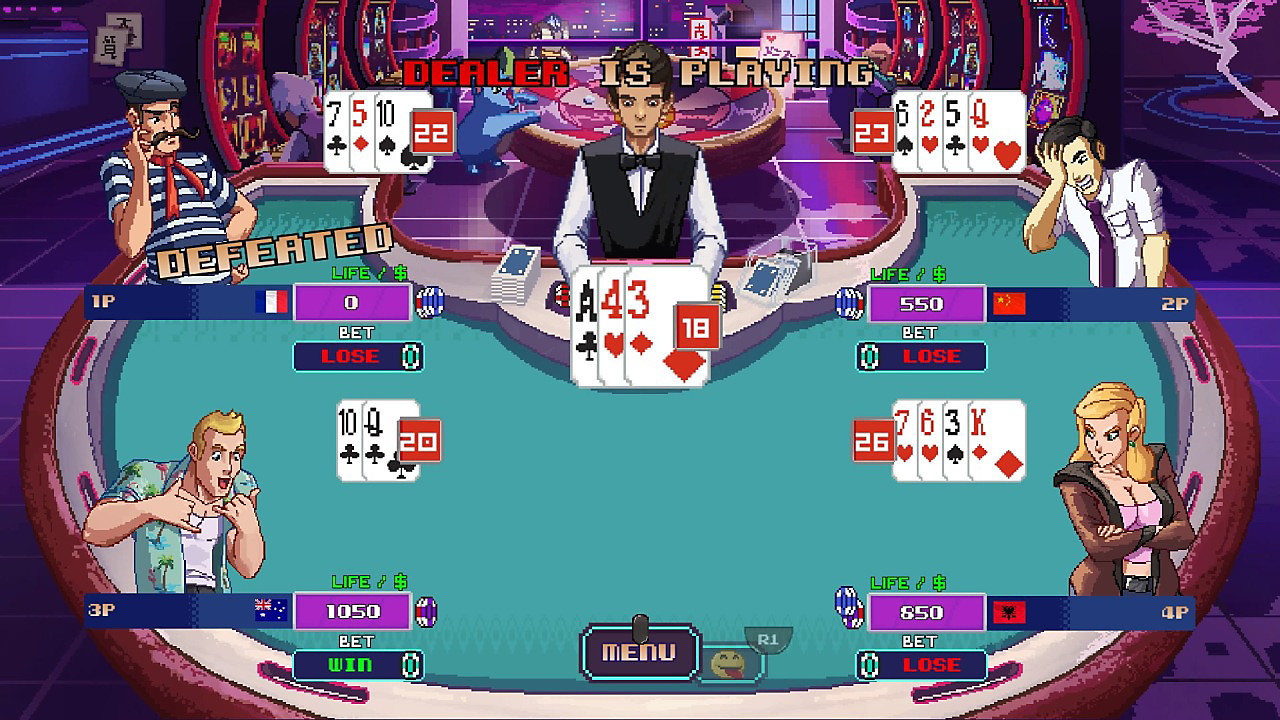 Scene of four players playing blackjack