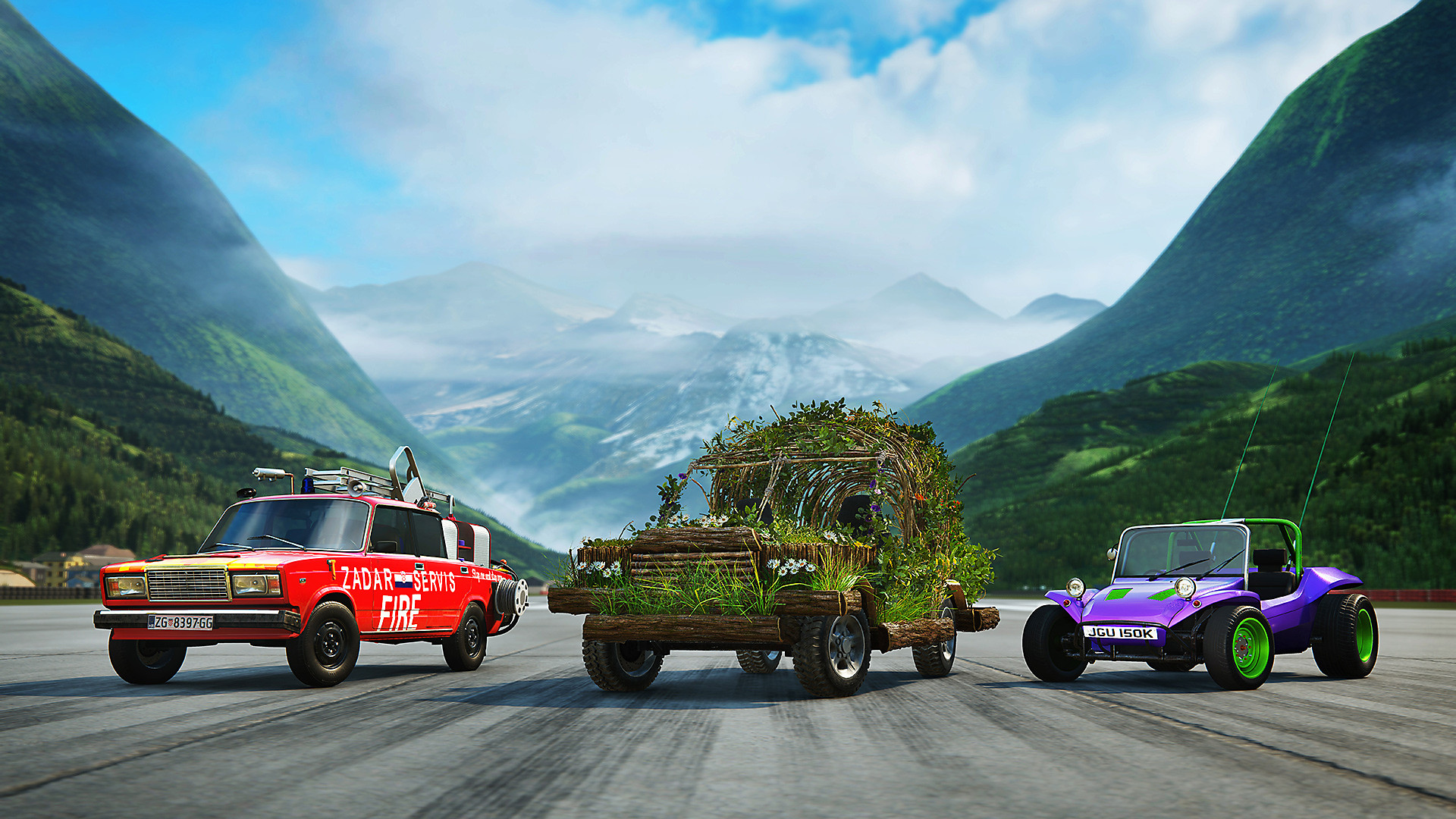 Three cars lined up on a road: a fire department car, a car made of plants, and a purple vintage racing car