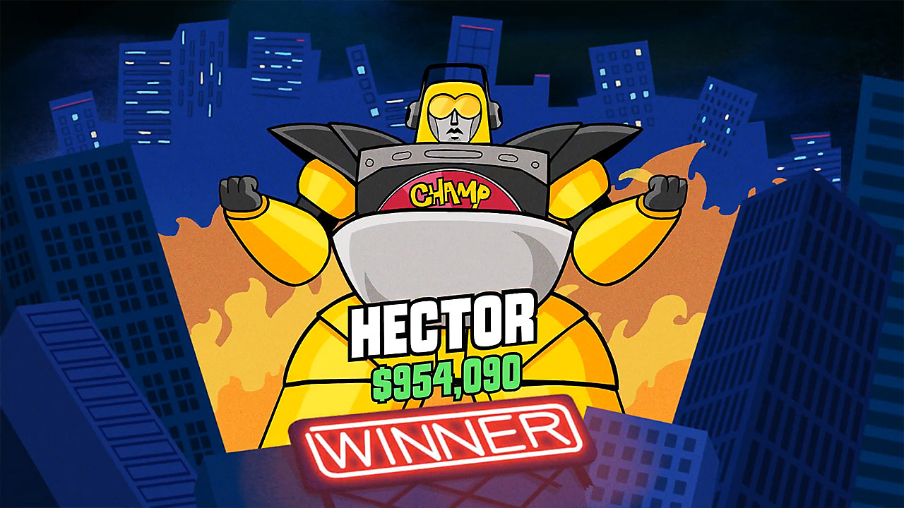 End screen with the player Hector announced as the winner