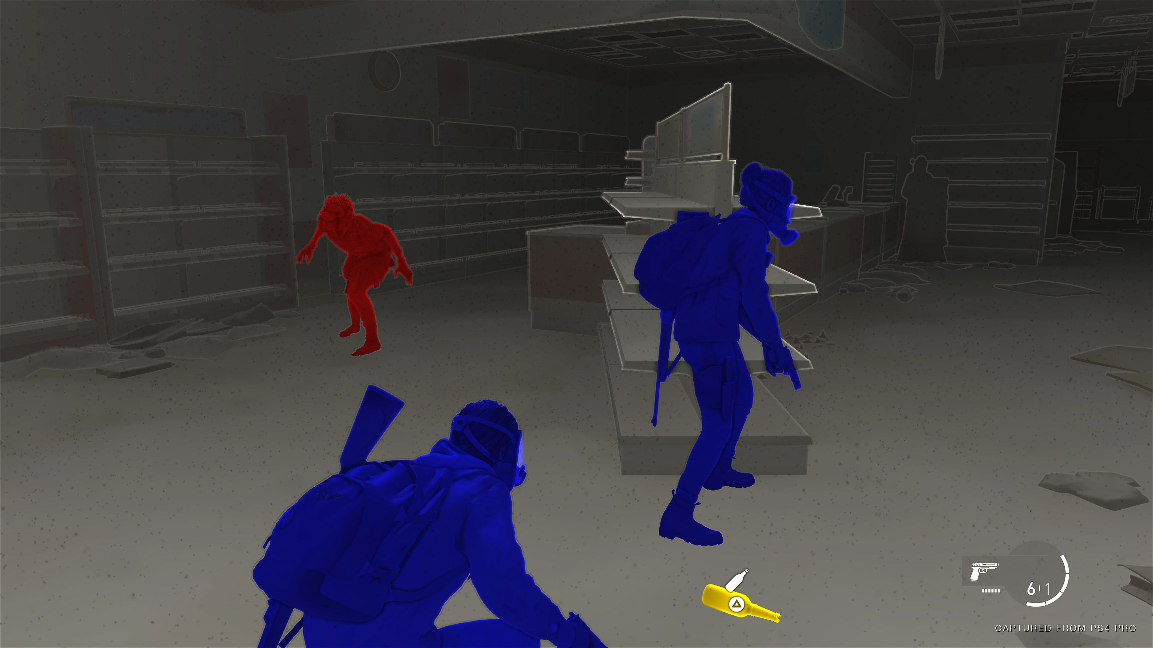 High contrast mode showing friends enemies and items in bright highly contrasting colours, against a muted background