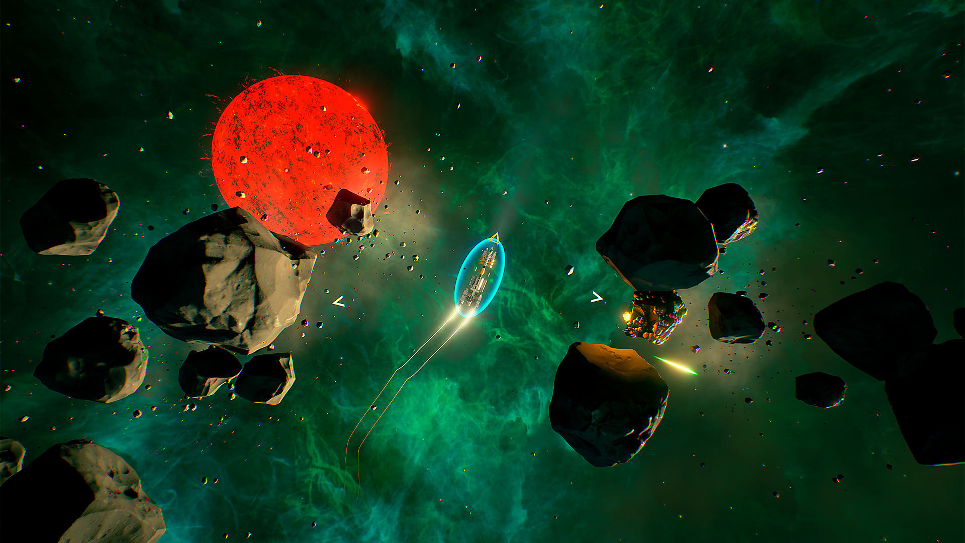 Ship flying through asteroids with a red sun in the background
